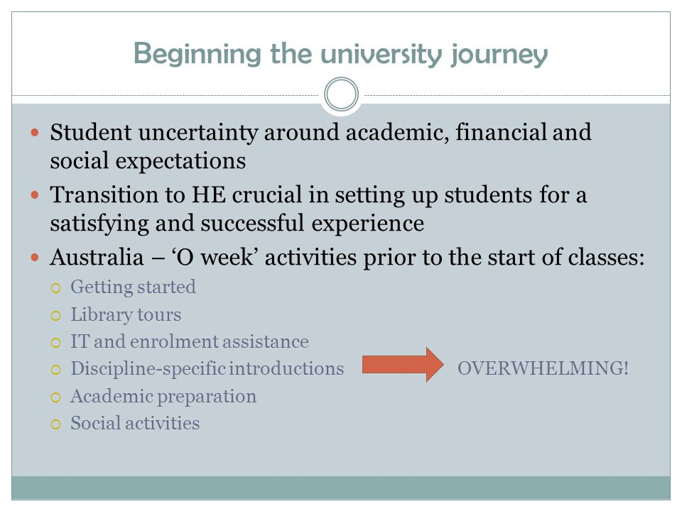Beginning the university journey Student uncertainty around academic, financial and social expectations Transition to HE crucial in setting up students for a satisfying and successful experience Australia – 'O week' activities prior to the start of classes:  Getting started  Library tours  IT and enrolment assistance  Discipline-specific introductions OVERWHELMING.