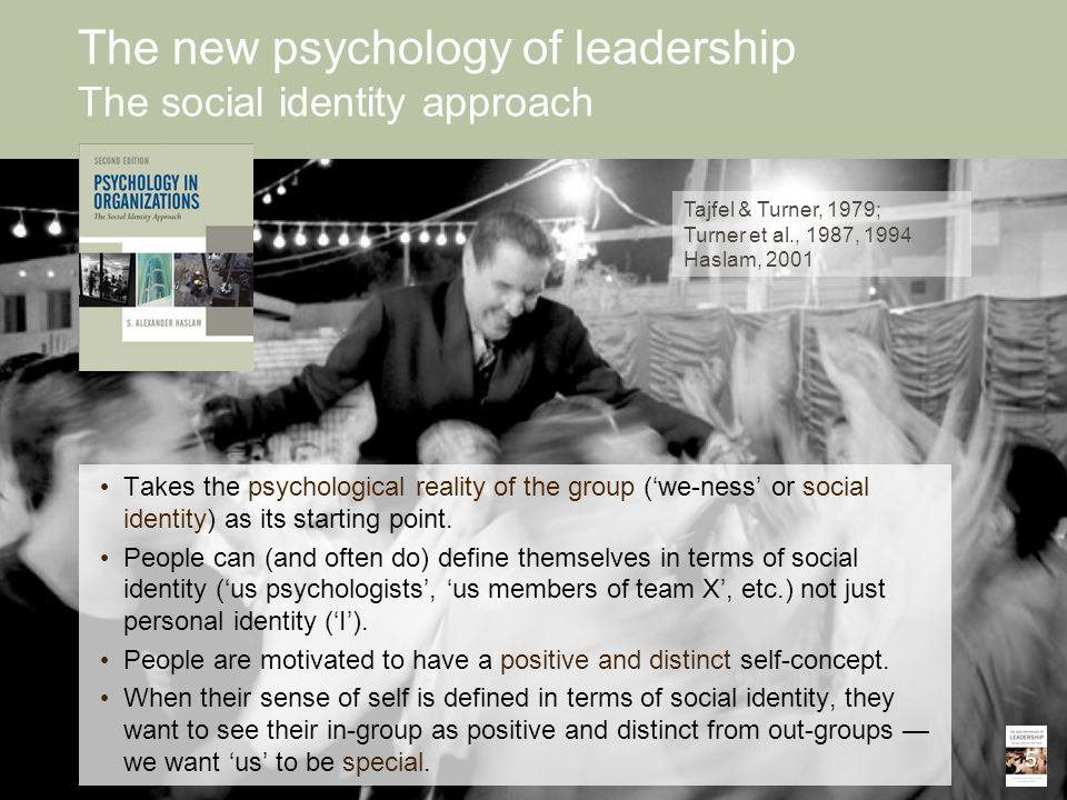 Takes the psychological reality of the group ('we-ness' or social identity) as its starting point. People can (and often do) define themselves in term