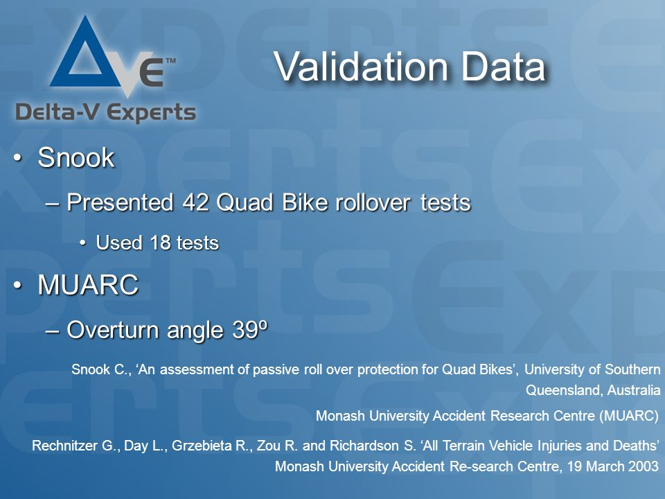Validation Data SnookSnook –Presented 42 Quad Bike rollover tests Used 18 testsUsed 18 tests MUARCMUARC –Overturn angle 39 ⁰ Snook C., 'An assessment of passive roll over protection for Quad Bikes', University of Southern Queensland, Australia Monash University Accident Research Centre (MUARC) Rechnitzer G., Day L., Grzebieta R., Zou R.