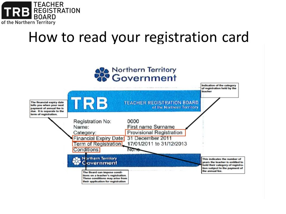 How to read your registration card