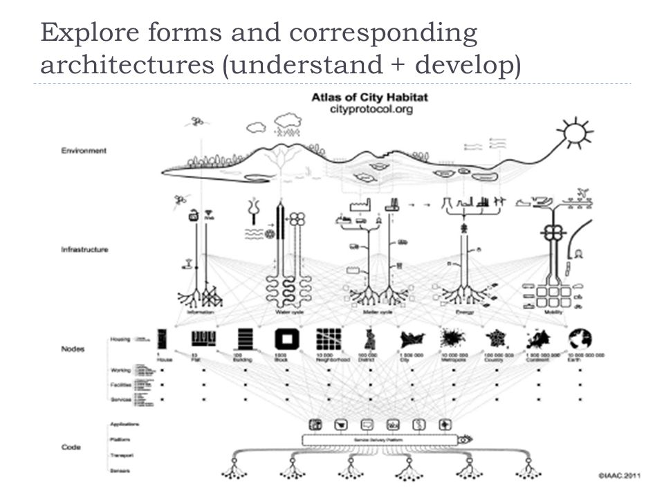 Explore forms and corresponding architectures (understand + develop)