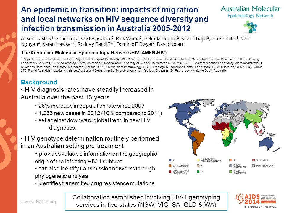 www.aids2014.org An epidemic in transition: impacts of migration and local networks on HIV sequence diversity and infection transmission in Australia
