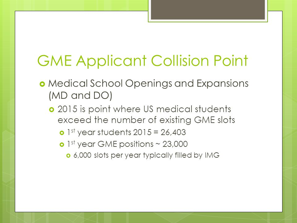 GME Applicant Collision Point  Medical School Openings and Expansions (MD and DO)  2015 is point where US medical students exceed the number of existing GME slots  1 st year students 2015 = 26,403  1 st year GME positions ~ 23,000  6,000 slots per year typically filled by IMG
