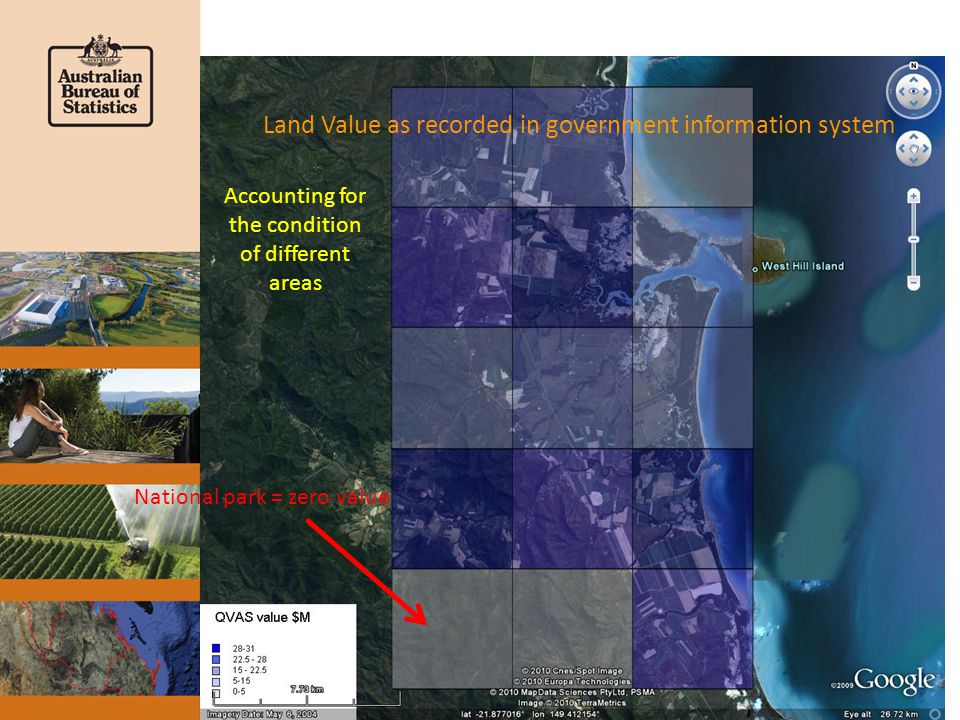 Land Value as recorded in government information system National park = zero value Accounting for the condition of different areas