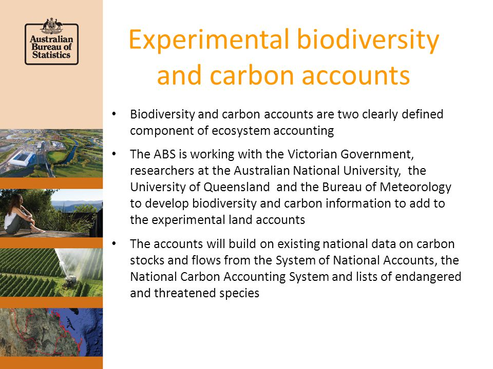 Experimental biodiversity and carbon accounts Biodiversity and carbon accounts are two clearly defined component of ecosystem accounting The ABS is working with the Victorian Government, researchers at the Australian National University, the University of Queensland and the Bureau of Meteorology to develop biodiversity and carbon information to add to the experimental land accounts The accounts will build on existing national data on carbon stocks and flows from the System of National Accounts, the National Carbon Accounting System and lists of endangered and threatened species
