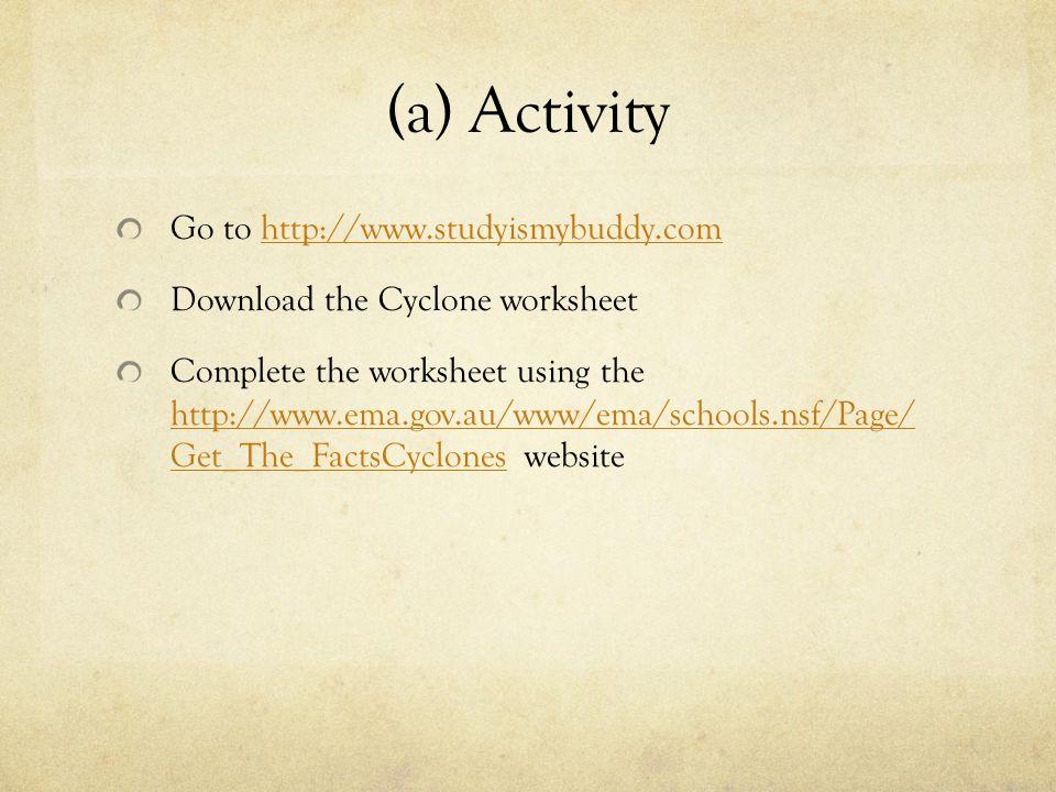 Go to http://www.studyismybuddy.comhttp://www.studyismybuddy.com Download the Cyclone worksheet Complete the worksheet using the http://www.ema.gov.au
