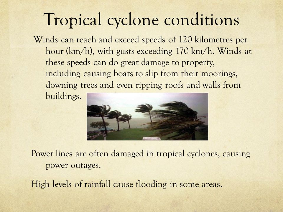 Tropical cyclone conditions Winds can reach and exceed speeds of 120 kilometres per hour (km/h), with gusts exceeding 170 km/h. Winds at these speeds