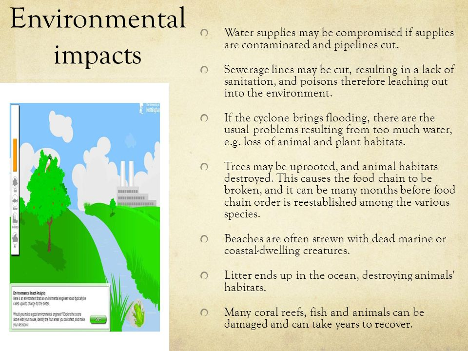 Environmental impacts Water supplies may be compromised if supplies are contaminated and pipelines cut. Sewerage lines may be cut, resulting in a lack