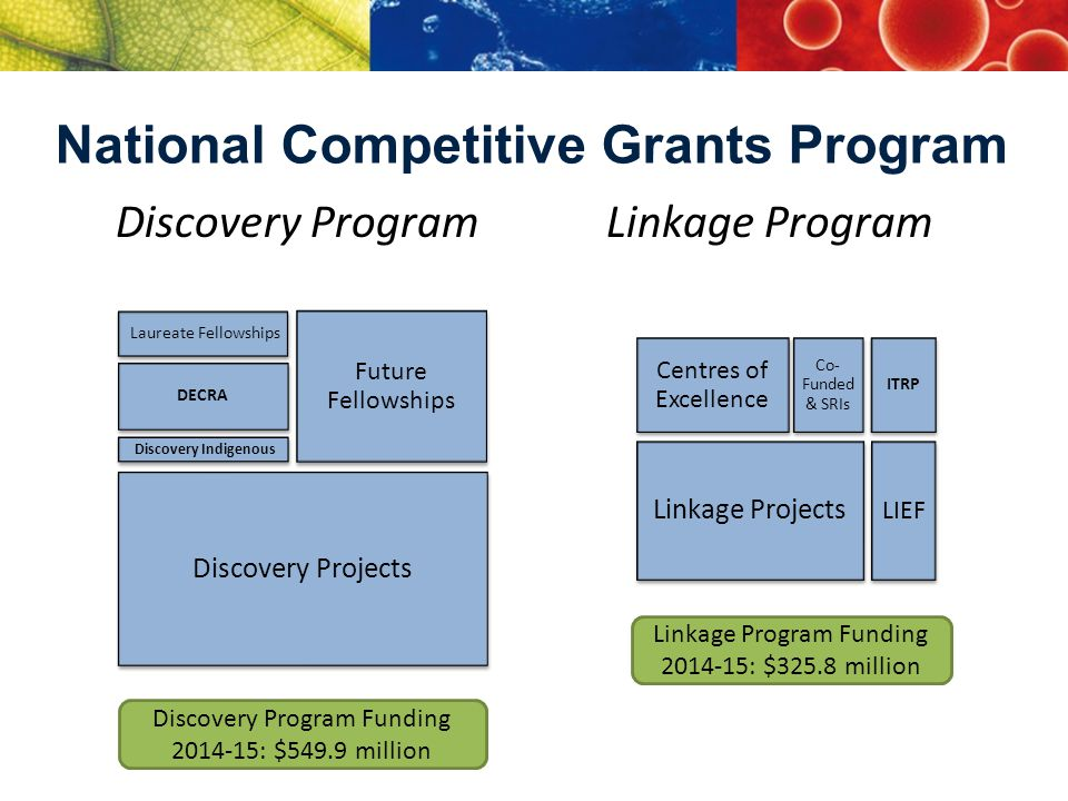 National Competitive Grants Program Discovery Program Laureate Fellowships Future Fellowships DECRA Discovery Projects Linkage Program Centres of Excellence Co- Funded & SRIs Linkage Projects Discovery Indigenous ITRP LIEF Discovery Program Funding 2014-15: $549.9 million Linkage Program Funding 2014-15: $325.8 million