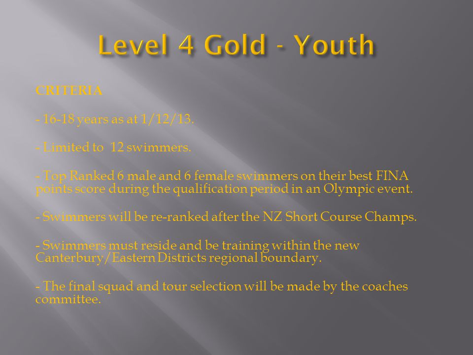 CRITERIA - 16-18 years as at 1/12/13. - Limited to 12 swimmers.