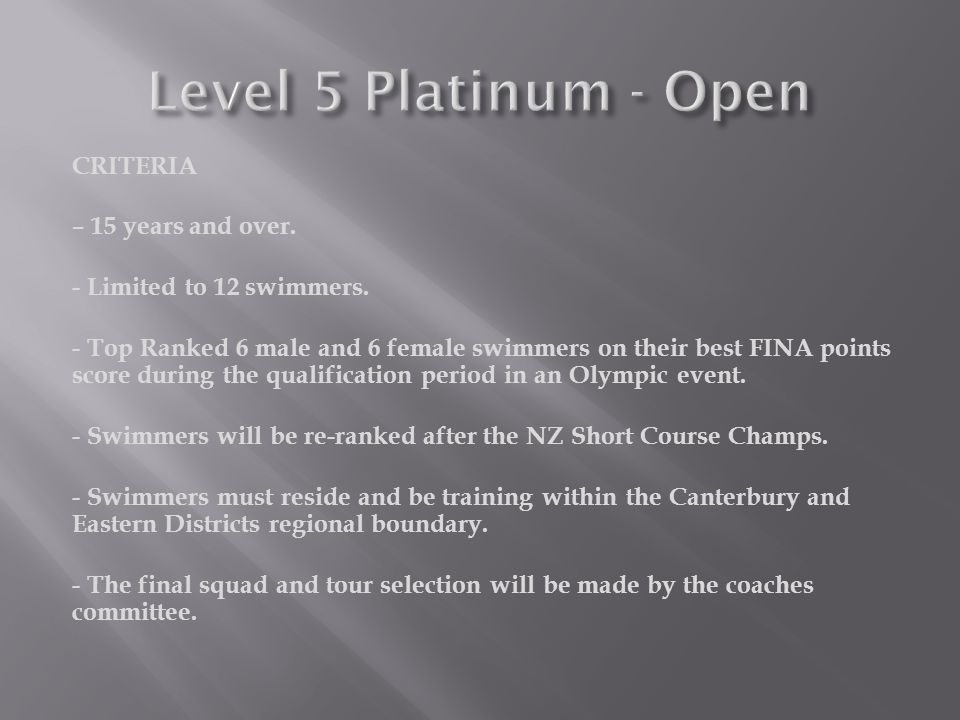 CRITERIA – 15 years and over. - Limited to 12 swimmers.