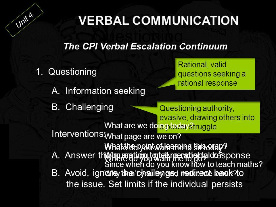 Unit 4 The CPI Verbal Escalation Continuum 1.Questioning 2.