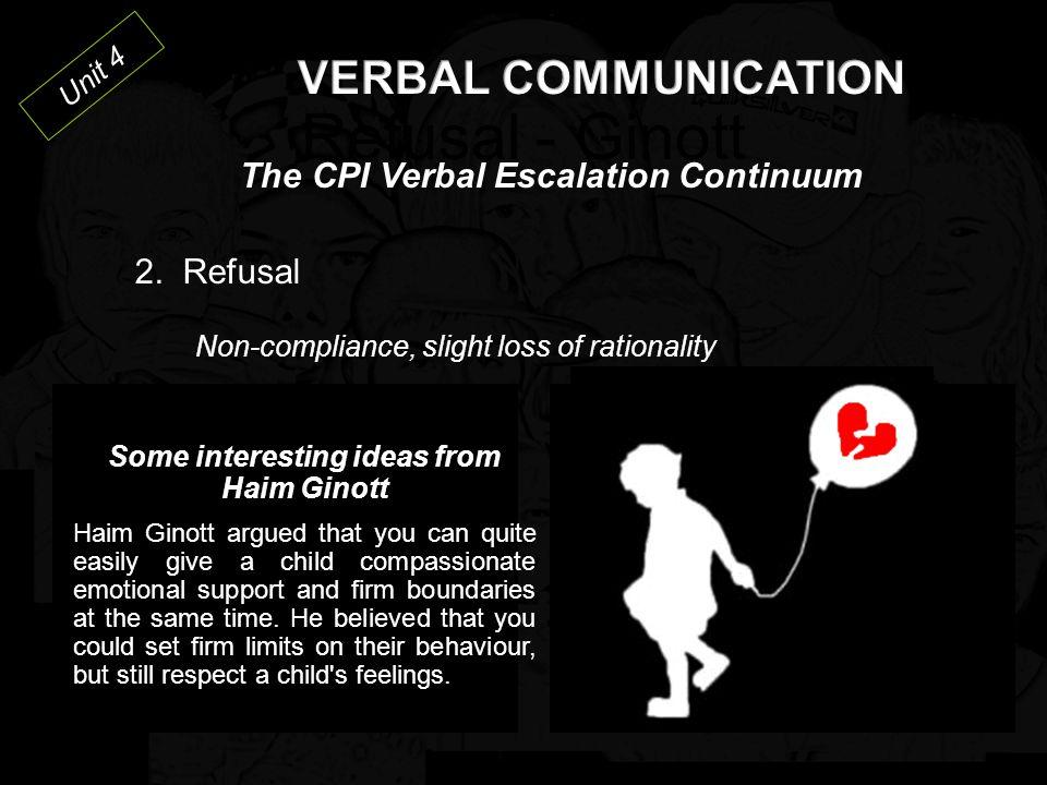 Unit 4 The CPI Verbal Escalation Continuum 2.