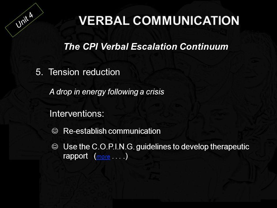 Unit 4 The CPI Verbal Escalation Continuum 4.