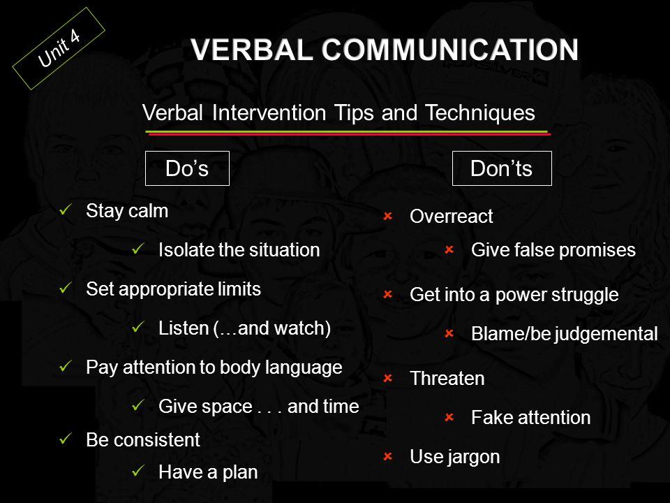 Unit 4 The CPI Verbal Escalation Continuum 5.