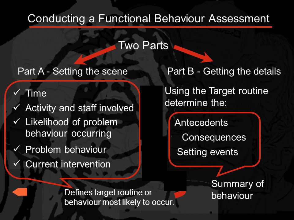 Functional behavioral assessment is NOT *the first technique a teacher uses when a pupil misbehaves *a quick fix *a do-it-yourself technique - it takes collaboration From: http://www.teach-nology.com/tutorials/teaching/fba/http://www.teach-nology.com/tutorials/teaching/fba/....