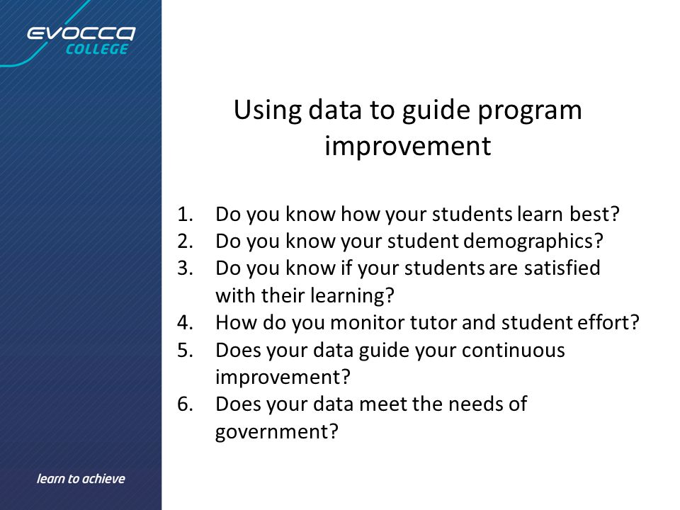 Using data to guide program improvement 1.Do you know how your students learn best.