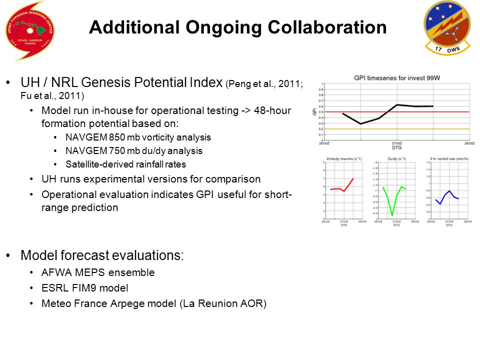 Additional Ongoing Collaboration UH / NRL Genesis Potential Index (Peng et al., 2011; Fu et al., 2011) Model run in-house for operational testing -> 4
