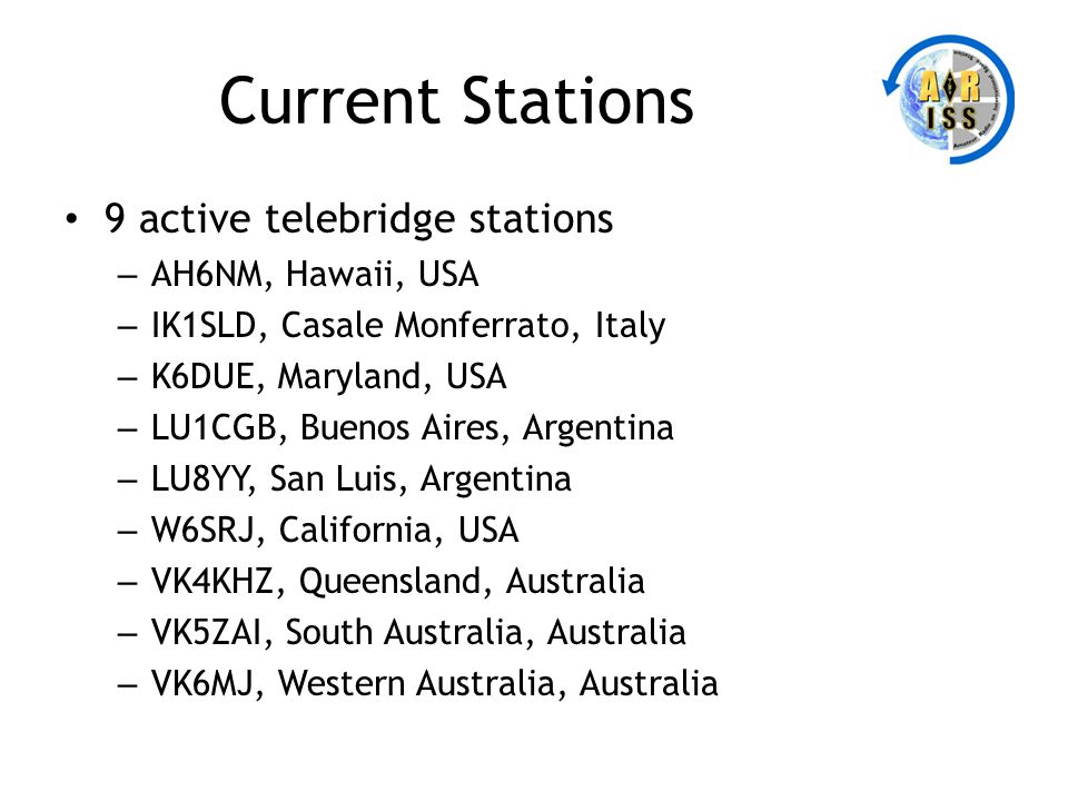 Current Stations 9 active telebridge stations – AH6NM, Hawaii, USA – IK1SLD, Casale Monferrato, Italy – K6DUE, Maryland, USA – LU1CGB, Buenos Aires, A