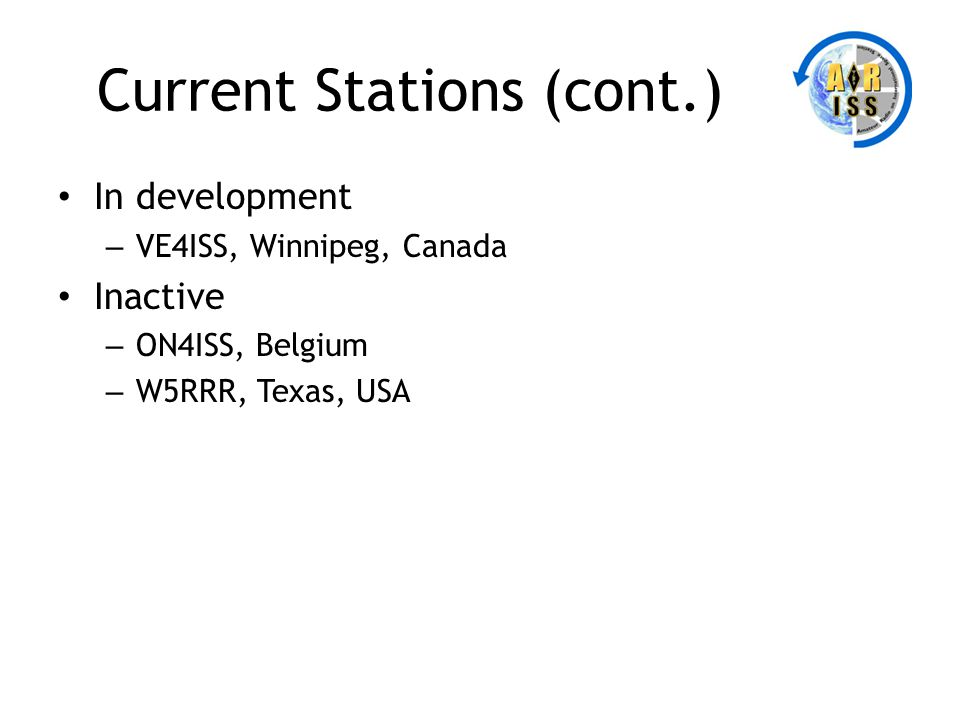 Current Stations (cont.) In development – VE4ISS, Winnipeg, Canada Inactive – ON4ISS, Belgium – W5RRR, Texas, USA