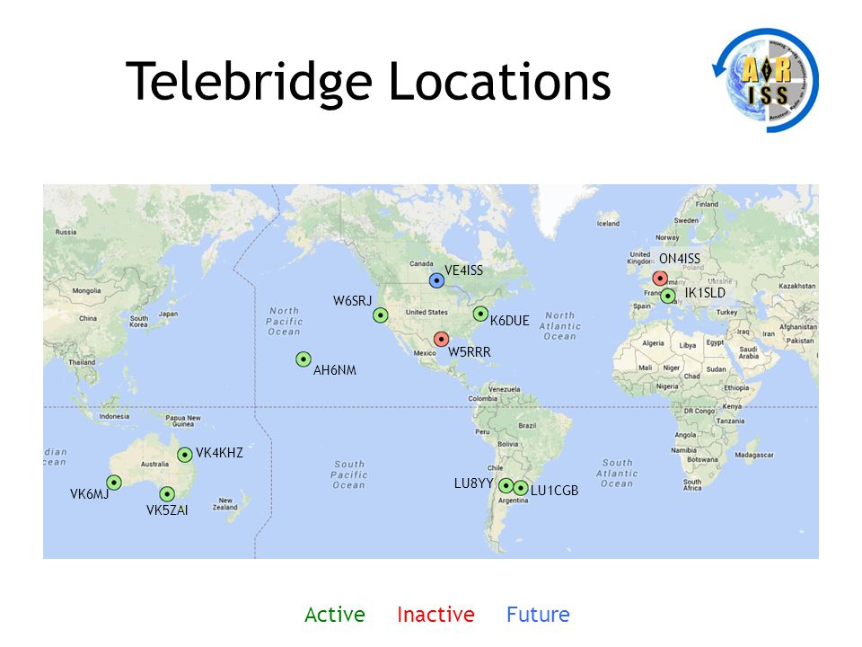Telebridge Locations K6DUE W5RRR VE4ISS W6SRJ AH6NM VK4KHZ IK1SLD LU1CGB LU8YY VK5ZAI VK6MJ Active Inactive Future ON4ISS