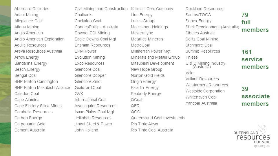 79 full members 161 service members 39 associate members Aberdare Collieries Adani Mining Allegiance Coal Altona Mining Anglo American Anglo American