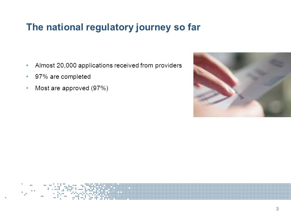 The national regulatory journey so far Almost 20,000 applications received from providers 97% are completed Most are approved (97%) 3
