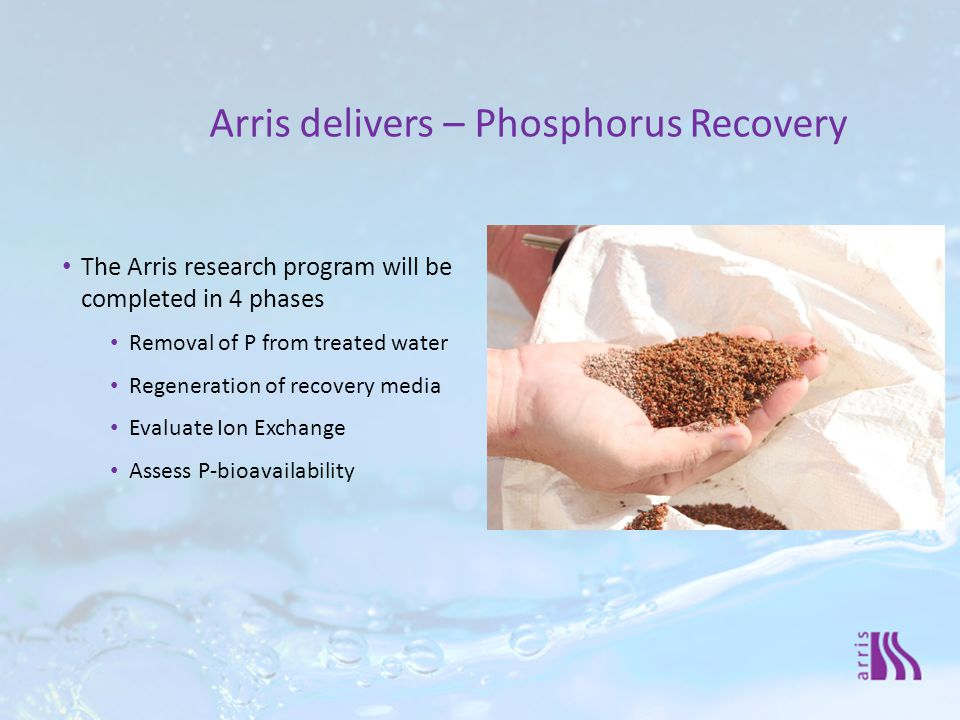 The Arris research program will be completed in 4 phases Removal of P from treated water Regeneration of recovery media Evaluate Ion Exchange Assess P-bioavailability Arris delivers – Phosphorus Recovery