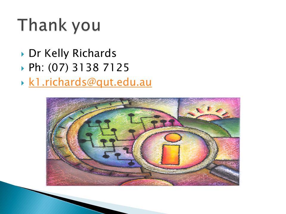  Dr Kelly Richards  Ph: (07) 3138 7125  k1.richards@qut.edu.au k1.richards@qut.edu.au