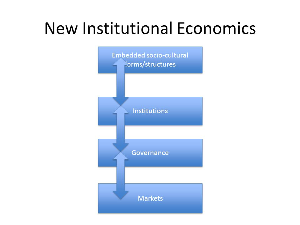New Institutional Economics Markets Governance Institutions Embedded socio-cultural forms/structures