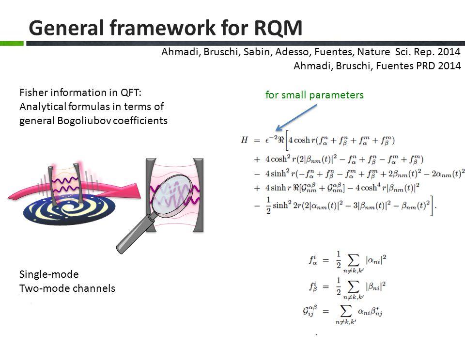 General framework for RQM Ahmadi, Bruschi, Sabin, Adesso, Fuentes, Nature Sci.