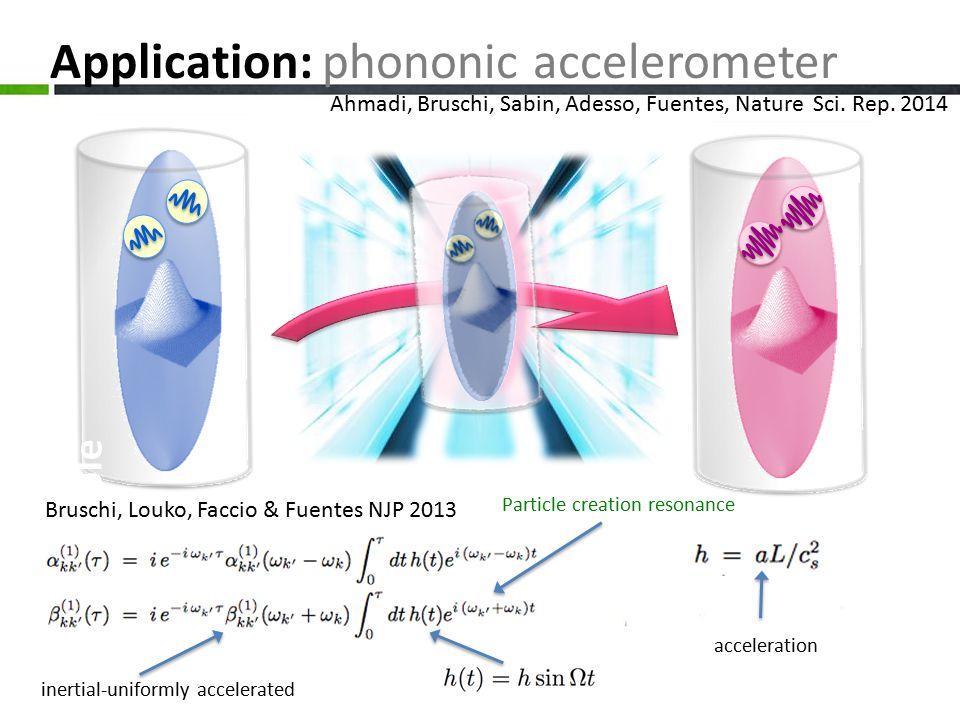 Example Application: phononic accelerometer inertial-uniformly accelerated acceleration Ahmadi, Bruschi, Sabin, Adesso, Fuentes, Nature Sci.