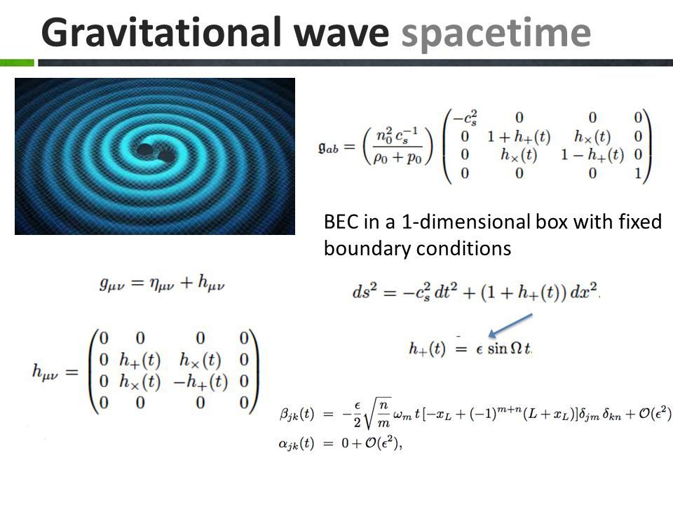 Gravitational wave spacetime BEC in a 1-dimensional box with fixed boundary conditions