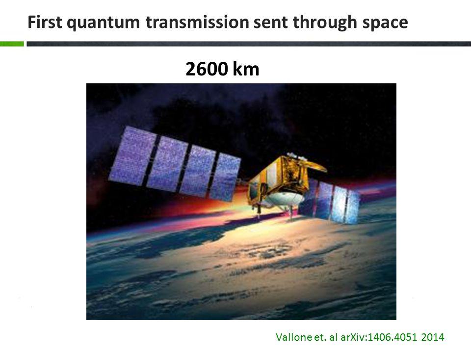 First quantum transmission sent through space 2600 km Vallone et. al arXiv:1406.4051 2014