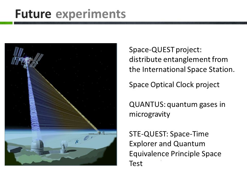 Future experiments Space-QUEST project: distribute entanglement from the International Space Station. Space Optical Clock project QUANTUS: quantum gas
