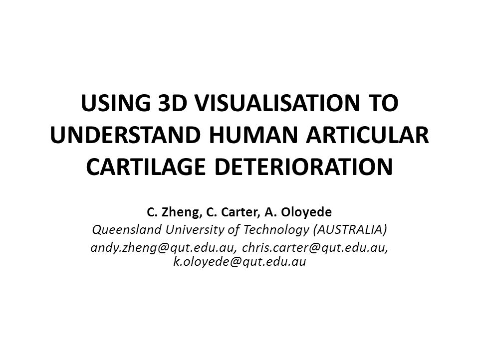 USING 3D VISUALISATION TO UNDERSTAND HUMAN ARTICULAR CARTILAGE DETERIORATION C. Zheng, C. Carter, A. Oloyede Queensland University of Technology (AUST