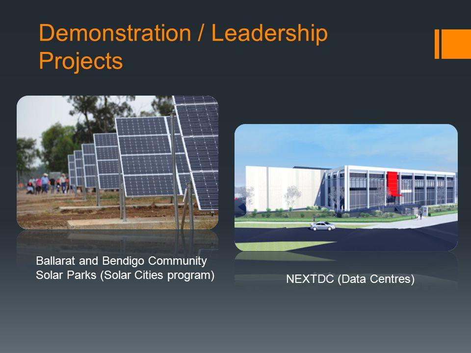 Demonstration / Leadership Projects Ballarat and Bendigo Community Solar Parks (Solar Cities program) NEXTDC (Data Centres)