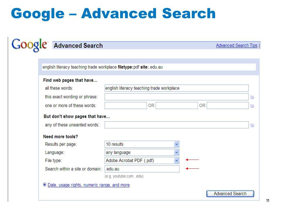 11 Google – Advanced Search