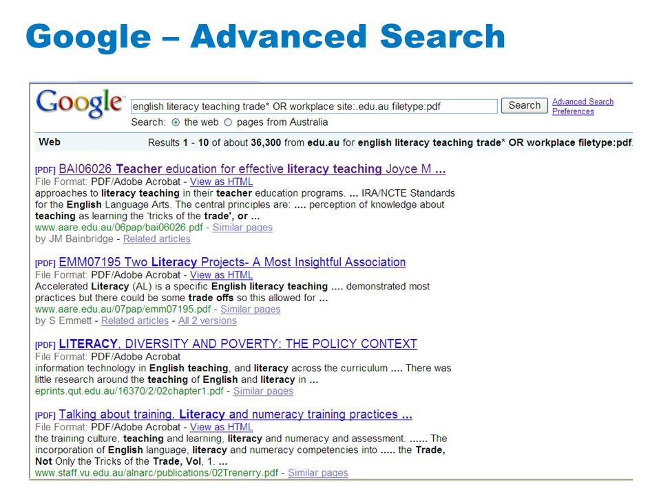 12 Google – Advanced Search