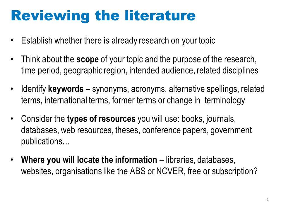 5 Reviewing the literature, websites Writing a literature review – Victoria University  http://tls.vu.edu.au/vucollege/learninghub/degreestudysupport/literature_review/1_ home.html http://tls.vu.edu.au/vucollege/learninghub/degreestudysupport/literature_review/1_ home.html Conducting a literature review – University of Melbourne  http://www.lib.unimelb.edu.au/postgrad/litreview/gettingstarted.html http://www.lib.unimelb.edu.au/postgrad/litreview/gettingstarted.html Literature review - Central Queensland University  http://www.library.cqu.edu.au/tutorials/litreviewpages/index.htm http://www.library.cqu.edu.au/tutorials/litreviewpages/index.htm Writing a literature review – Monash University  http://www.monash.edu.au/lls/llonline/writing/general/lit-reviews/index.xml http://www.monash.edu.au/lls/llonline/writing/general/lit-reviews/index.xml