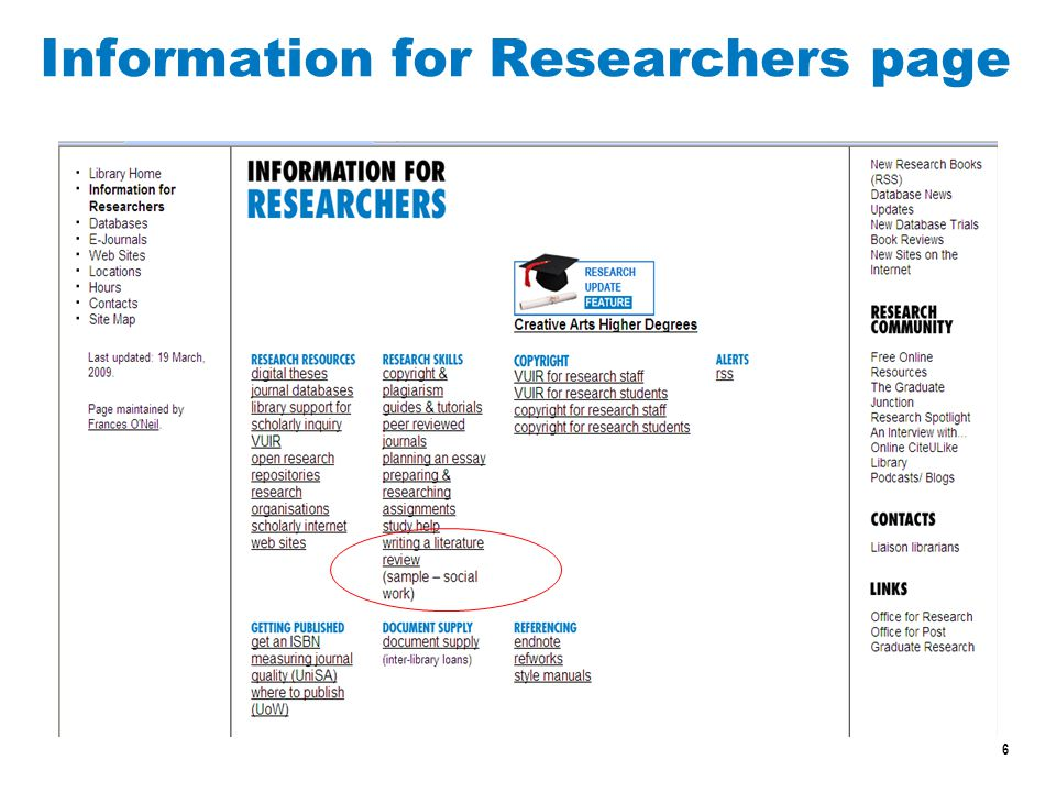 6 Information for Researchers page