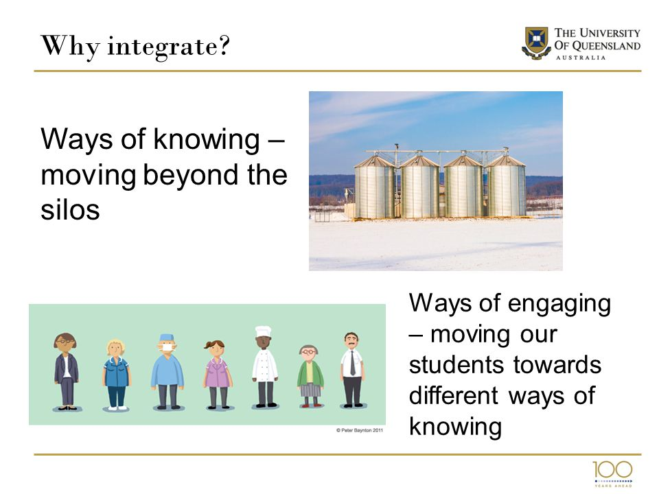 Why integrate? Ways of knowing – moving beyond the silos Ways of engaging – moving our students towards different ways of knowing