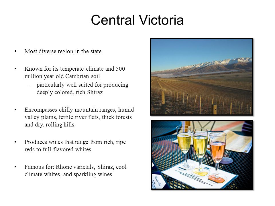 Central Victoria Most diverse region in the state Known for its temperate climate and 500 million year old Cambrian soil –particularly well suited for producing deeply colored, rich Shiraz Encompasses chilly mountain ranges, humid valley plains, fertile river flats, thick forests and dry, rolling hills Produces wines that range from rich, ripe reds to full-flavored whites Famous for: Rhone varietals, Shiraz, cool climate whites, and sparkling wines