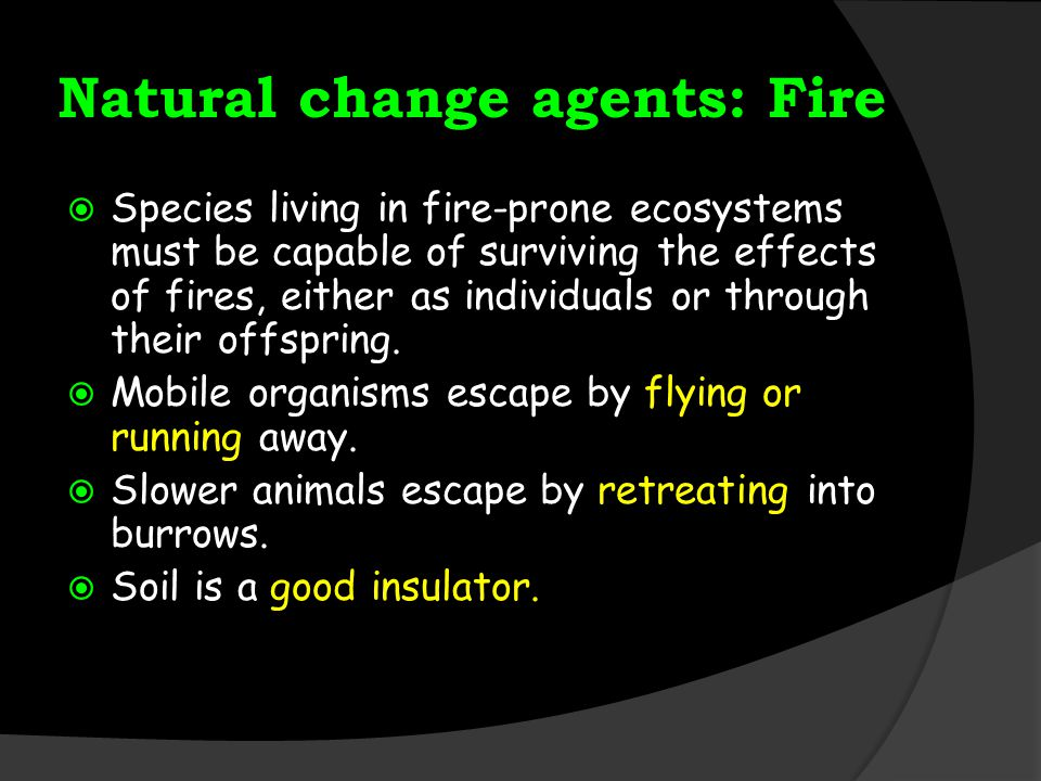 Natural change agents: Fire  Species living in fire-prone ecosystems must be capable of surviving the effects of fires, either as individuals or through their offspring.