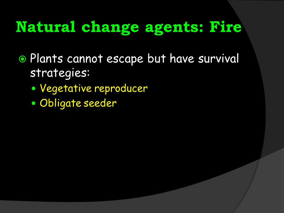 Natural change agents: Fire  Plants cannot escape but have survival strategies: Vegetative reproducer Obligate seeder