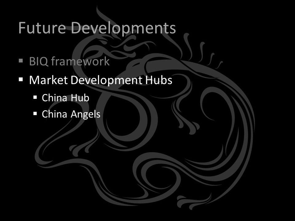 Future Developments  BIQ framework  Market Development Hubs  China Hub  China Angels