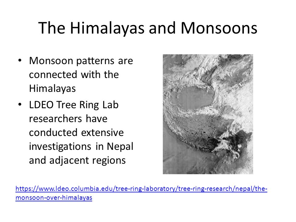 The Himalayas and Monsoons Monsoon patterns are connected with the Himalayas LDEO Tree Ring Lab researchers have conducted extensive investigations in Nepal and adjacent regions https://www.ldeo.columbia.edu/tree-ring-laboratory/tree-ring-research/nepal/the- monsoon-over-himalayas