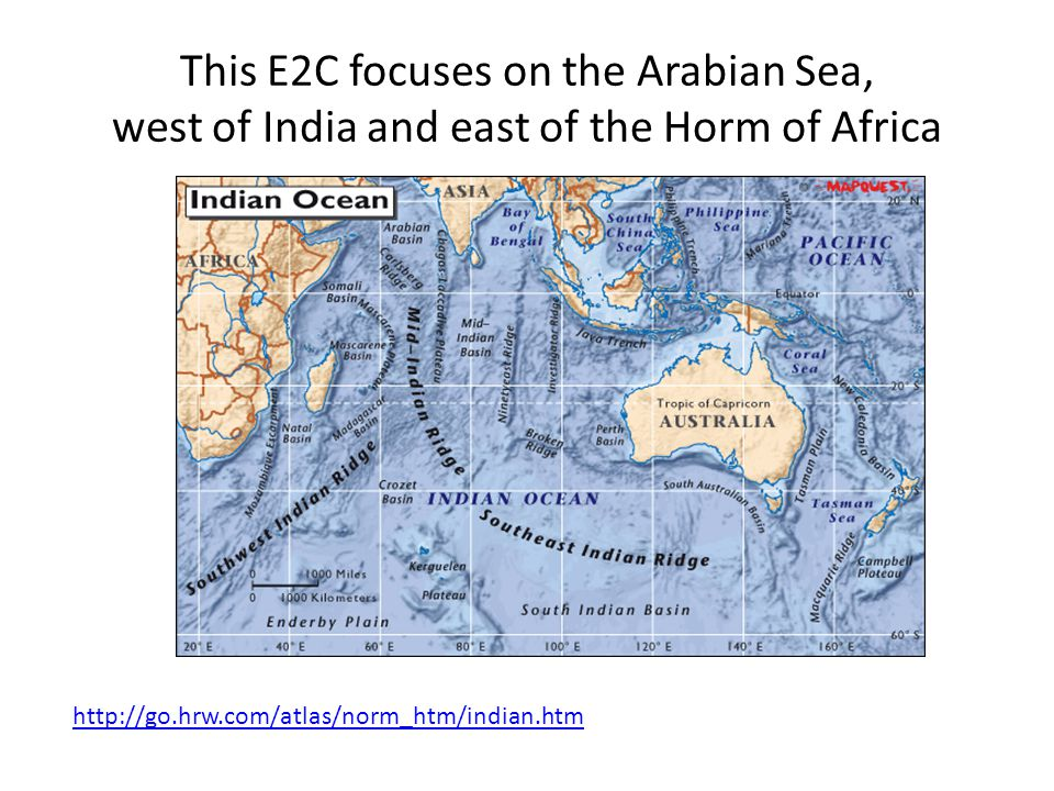 The Indian Ocean Smallest, youngest, and physically most complex of the three major oceans Approximately 1/5 th of total ocean area 10,000 km (6,200 mi) between Africa and Australia Deepest spot is the Sunda Deep in the Java Trench (7,450 m/ 24,442 ft) Marginal seas include the Red Sea, Persian Gulf, gulfs of Aden and Oman, Bay of Bengal, Andaman Sea, and Arabian Sea