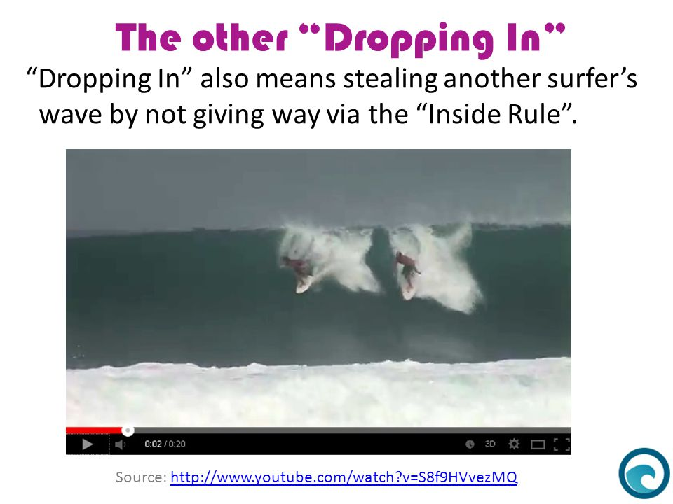"""The other """"Dropping In"""" """"Dropping In"""" also means stealing another surfer's wave by not giving way via the """"Inside Rule"""". Source: http://www.youtube.co"""