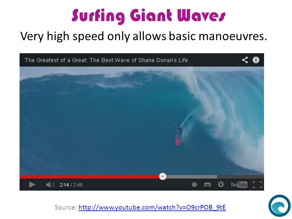 Surfing Giant Waves Very high speed only allows basic manoeuvres. Source: http://www.youtube.com/watch?v=O9crPOB_9tEhttp://www.youtube.com/watch?v=O9c